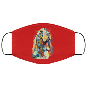 Canine's World Red / One Size Ultimate Shield Face Masks Hand painted bassethound human Face Mask