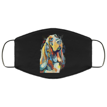 Load image into Gallery viewer, Canine's World Black / One Size Ultimate Shield Face Masks Hand painted bassethound human Face Mask