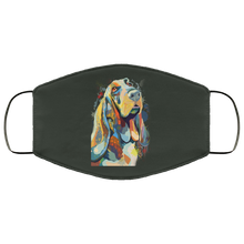 Load image into Gallery viewer, Canine's World Forest / One Size Ultimate Shield Face Masks Hand painted bassethound human Face Mask