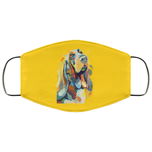 Canine's World Gold / One Size Ultimate Shield Face Masks Hand painted bassethound human Face Mask