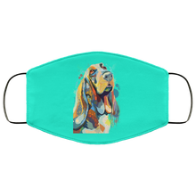 Load image into Gallery viewer, Canine's World Turquoise / One Size Ultimate Shield Face Masks Hand painted bassethound human Face Mask