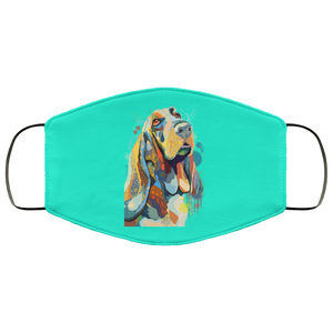 Canine's World Turquoise / One Size Ultimate Shield Face Masks Hand painted bassethound human Face Mask