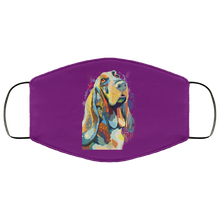 Load image into Gallery viewer, Canine's World Purple / One Size Ultimate Shield Face Masks Hand painted bassethound human Face Mask