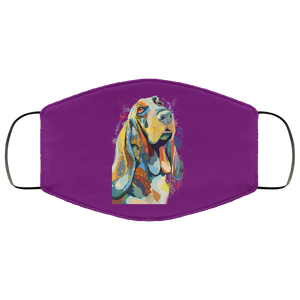 Canine's World Purple / One Size Ultimate Shield Face Masks Hand painted bassethound human Face Mask