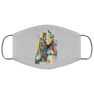 Canine's World Silver / One Size Ultimate Shield Face Masks Hand painted bassethound human Face Mask