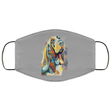 Load image into Gallery viewer, Canine's World Gray / One Size Ultimate Shield Face Masks Hand painted bassethound human Face Mask