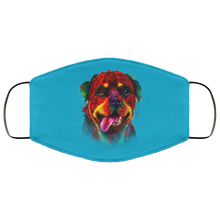 Load image into Gallery viewer, Canine's World Turquoise / One Size Ultimate Shield Face Masks Hand painted rottweiler human Face Mask