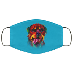 Canine's World Turquoise / One Size Ultimate Shield Face Masks Hand painted rottweiler human Face Mask