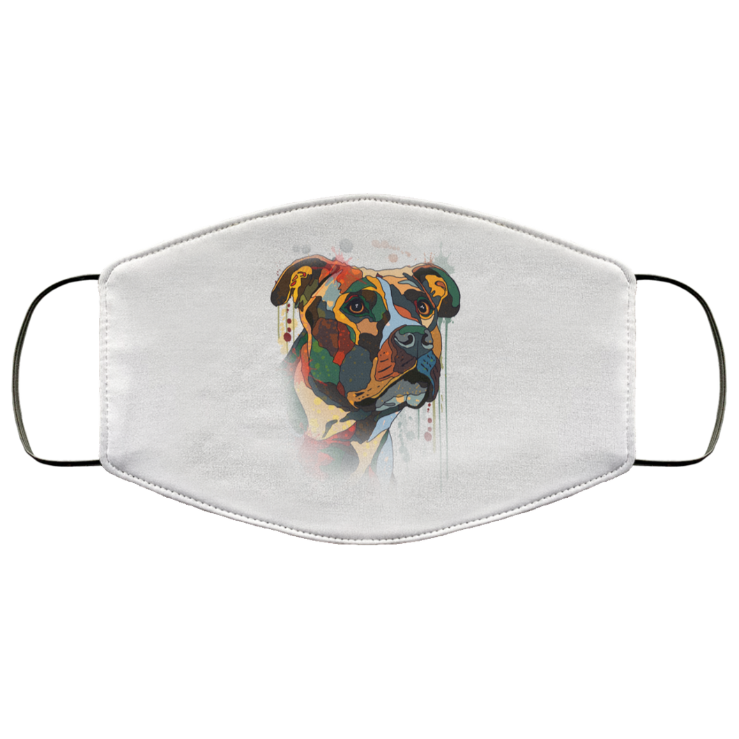 Canine's World White / One Size Ultimate Shield Face Masks Hand painted pitbull human Face Mask