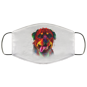 Canine's World White / One Size Ultimate Shield Face Masks Hand painted rottweiler human Face Mask