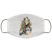 Load image into Gallery viewer, Canine's World White / One Size Ultimate Shield Face Masks Hand painted bassethound human Face Mask