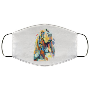 Canine's World White / One Size Ultimate Shield Face Masks Hand painted bassethound human Face Mask