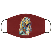 Load image into Gallery viewer, Canine's World Maroon / One Size Ultimate Shield Face Masks Hand painted bassethound human Face Mask
