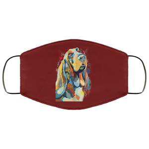 Canine's World Maroon / One Size Ultimate Shield Face Masks Hand painted bassethound human Face Mask