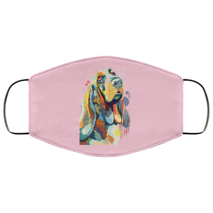 Canine's World Pink / One Size Ultimate Shield Face Masks Hand painted bassethound human Face Mask