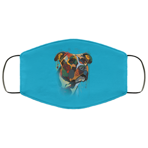 Canine's World Teal / One Size Ultimate Shield Face Masks Hand painted pitbull human Face Mask