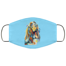 Load image into Gallery viewer, Canine's World Columbia Blue / One Size Ultimate Shield Face Masks Hand painted bassethound human Face Mask