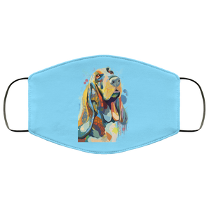 Canine's World Columbia Blue / One Size Ultimate Shield Face Masks Hand painted bassethound human Face Mask