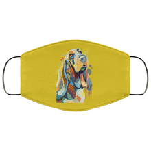 Load image into Gallery viewer, Canine's World Old Gold / One Size Ultimate Shield Face Masks Hand painted bassethound human Face Mask