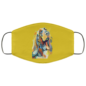 Canine's World Old Gold / One Size Ultimate Shield Face Masks Hand painted bassethound human Face Mask