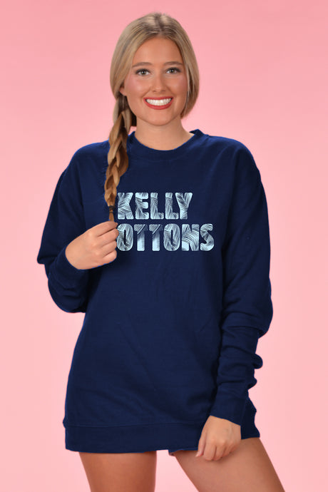 Navy Sweatshirt - Palm Text - Kelly Cottons