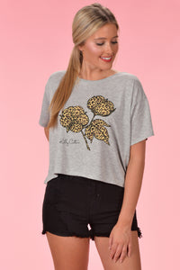 Classic Leopard Cotton Boll Crop Top - Kelly Cottons