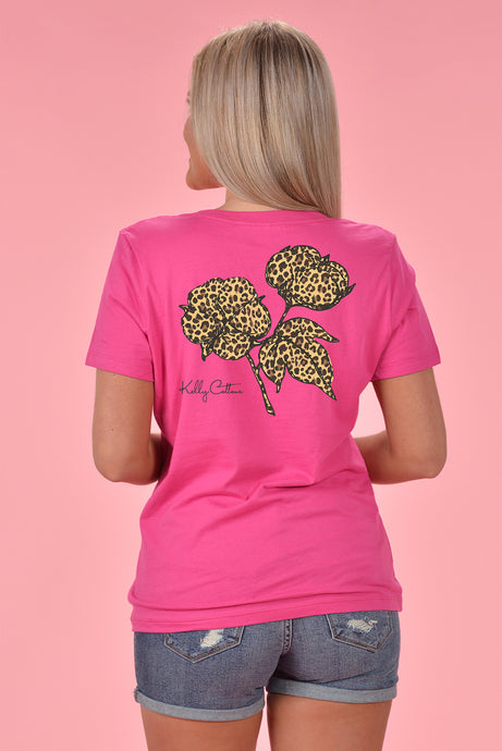 Classic Leopard Cotton Boll V-Neck - Kelly Cottons