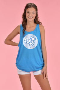 Seersucker Cotton Boll Tank Front Only - Kelly Cottons