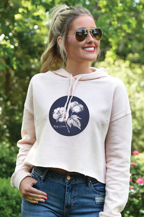 Cropped Hoodie Circle Logo - Blush - Kelly Cottons