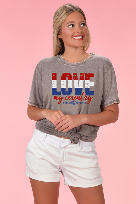 Love My Country Acid Wash - Kelly Cottons