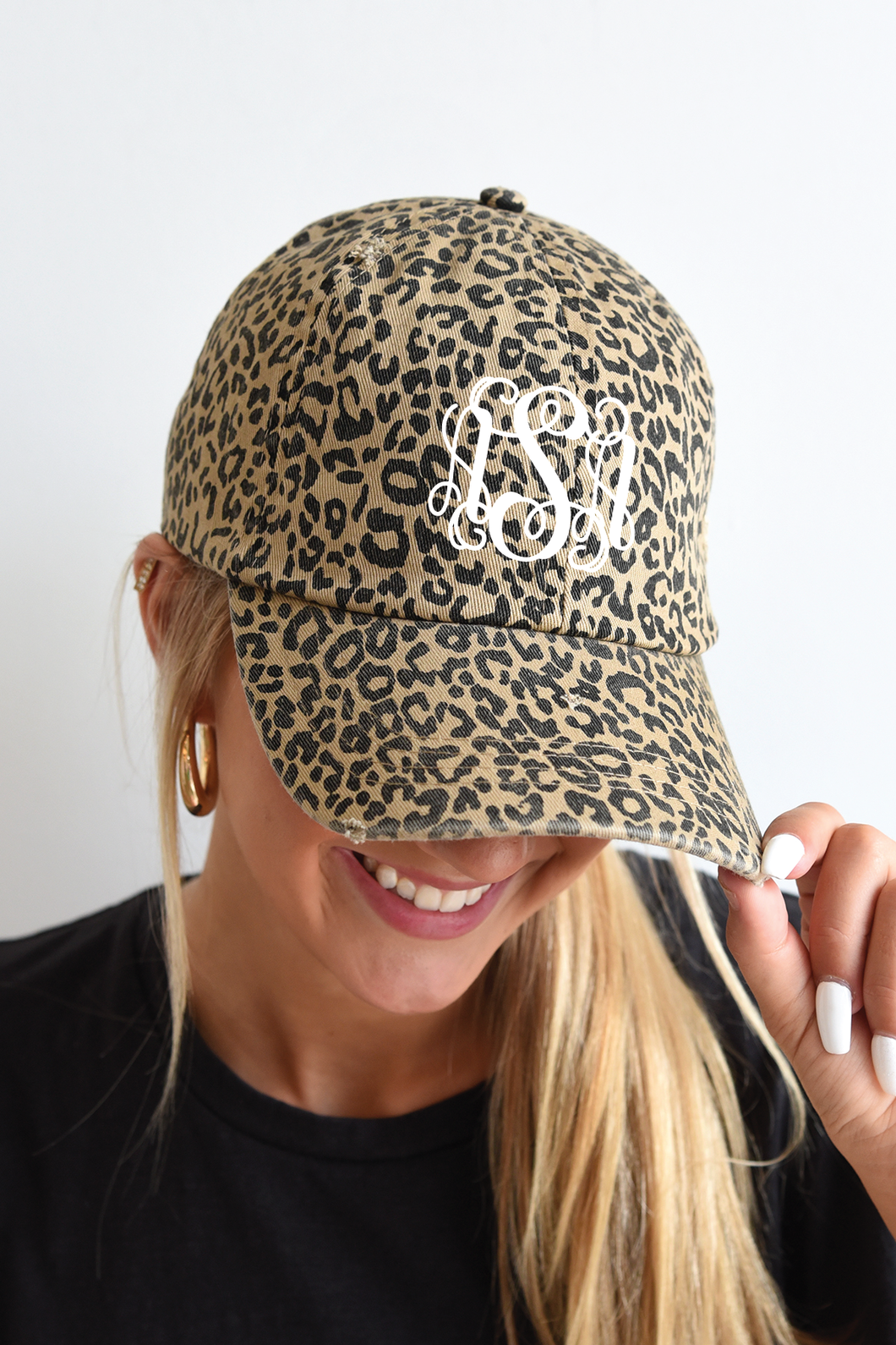 Monogrammed Hat - Classic Leopard