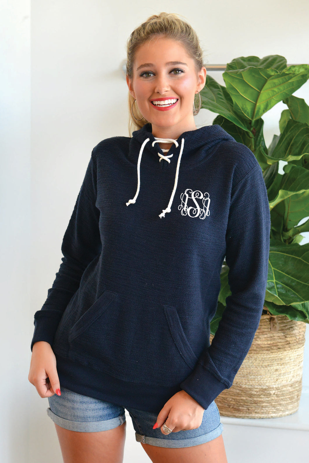 Monogrammed French Terry Scuba Hooded Pullover