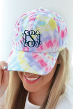 Load image into Gallery viewer, Tie Dye Cotton Boll Monogrammed Hat - Fuschia