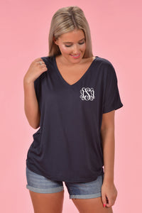 Slouchy V-Neck Monogrammed Tee