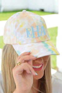 Tie Dye Cotton Boll Monogrammed Hat - Yellow