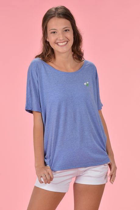 Slouchy Embroidered Tee - Kelly Cottons