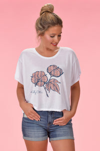 Snakeskin Cotton Boll Crop Top - Kelly Cottons