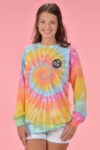 Long Sleeve Tie Dye - Navy Cotton Boll - Kelly Cottons