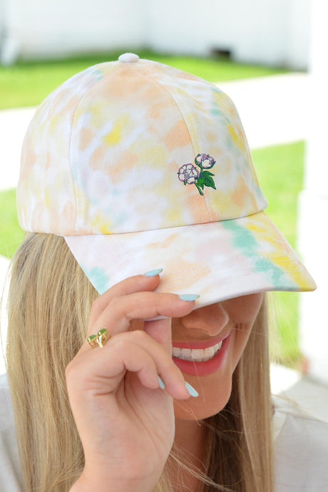 Tie Dye Cotton Boll Hat - Yellow - Kelly Cottons