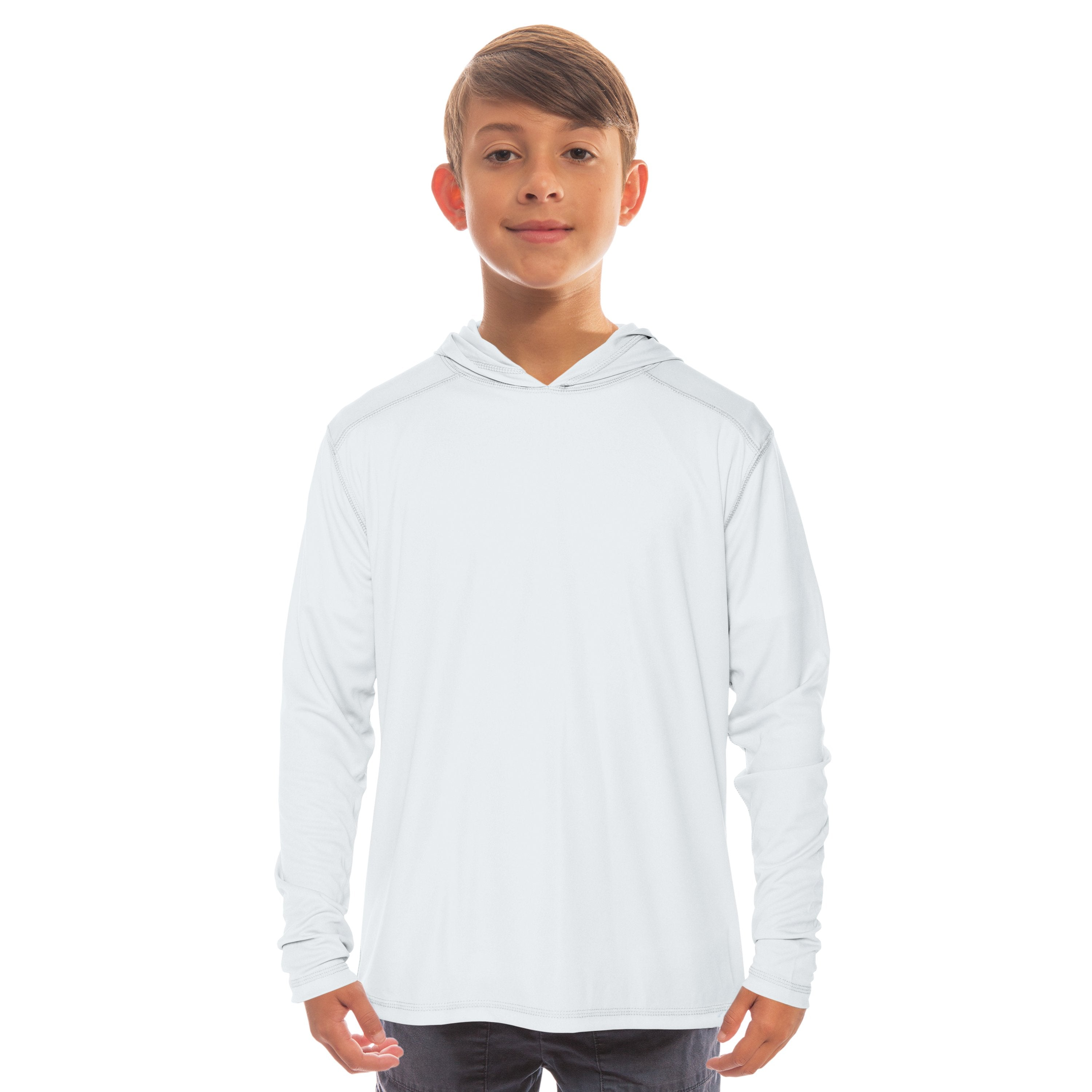 H980WH Youth Solar Hoodie - White