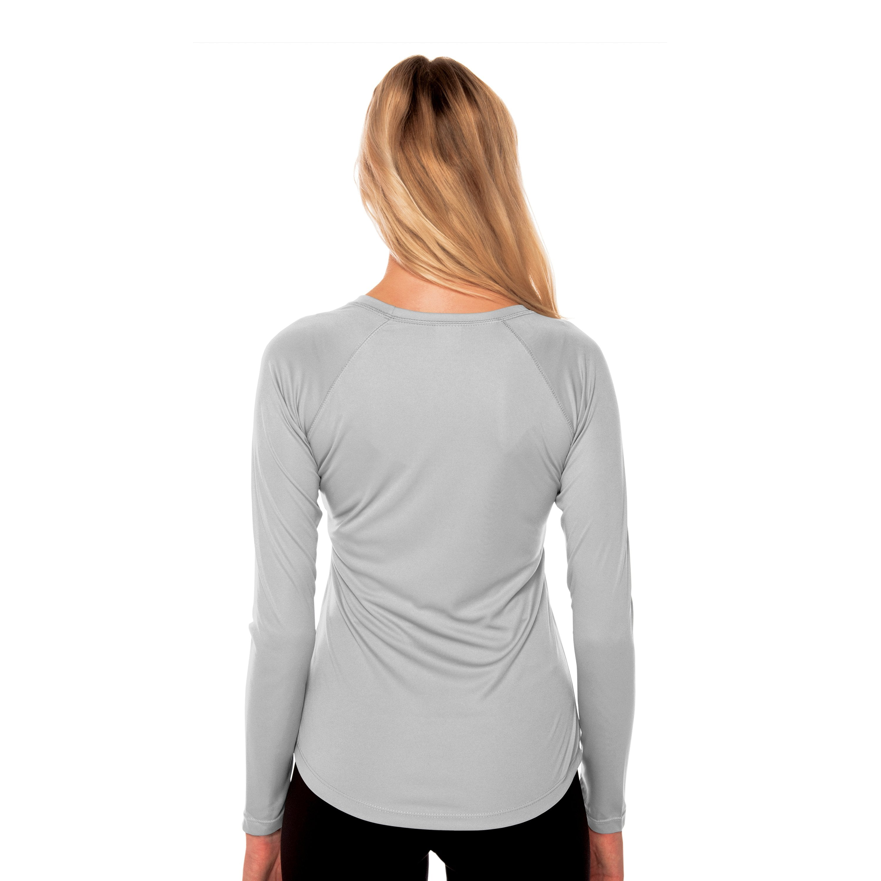 M751PG Ladies Solar Crew Long Sleeve - Pearl Grey