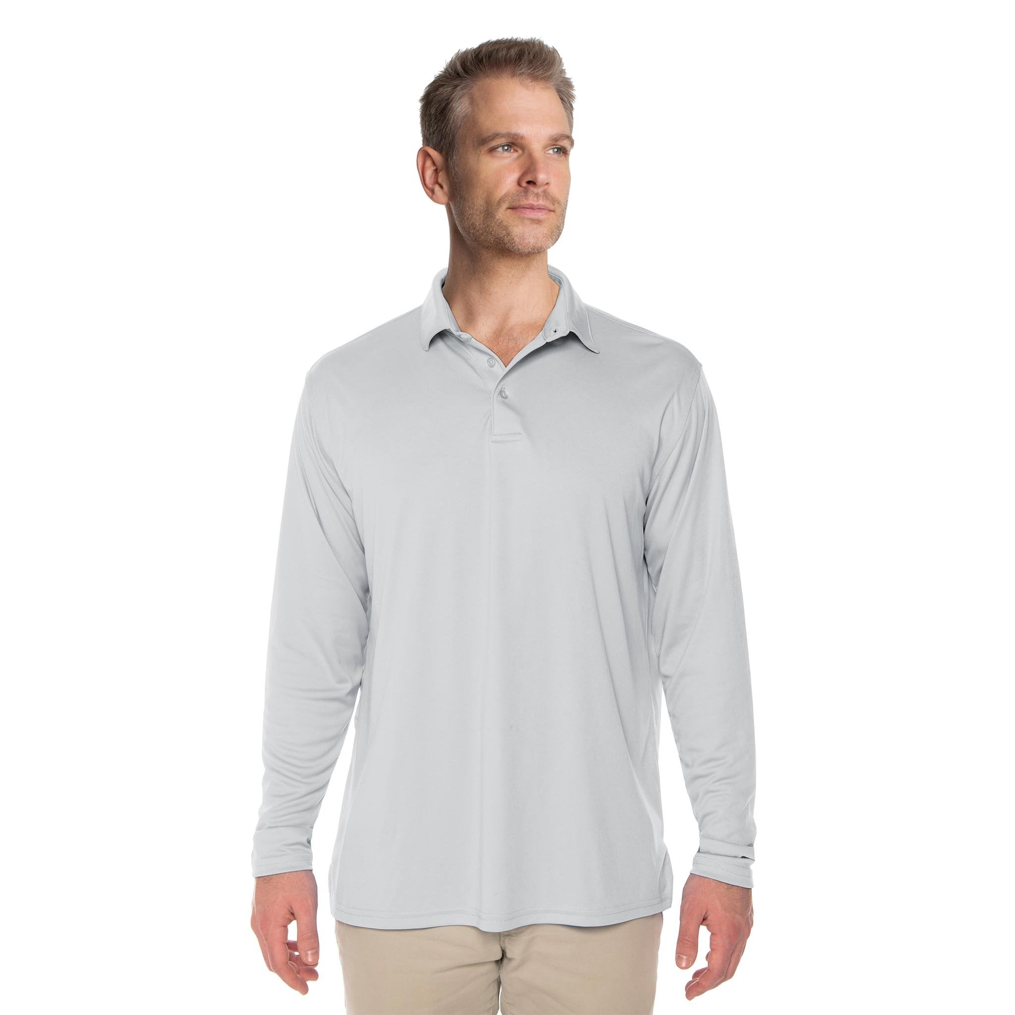M910PG Solar Polo Long Sleeve - Pearl Grey