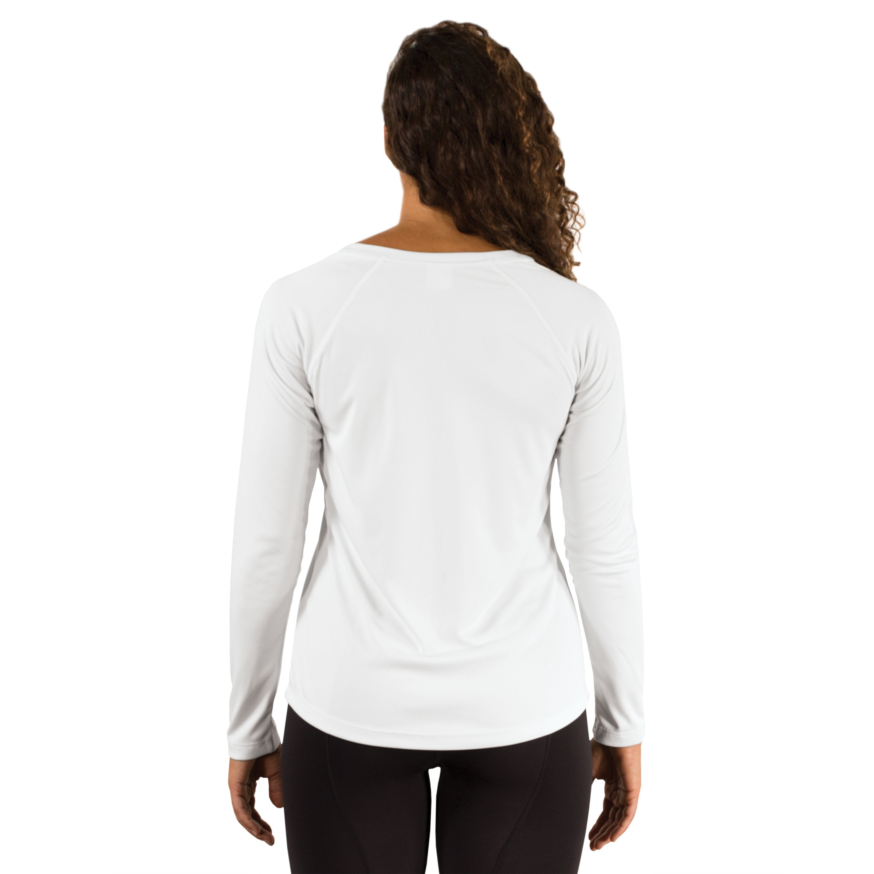 M755WH Ladies Solar Long Sleeve V-Neck - White