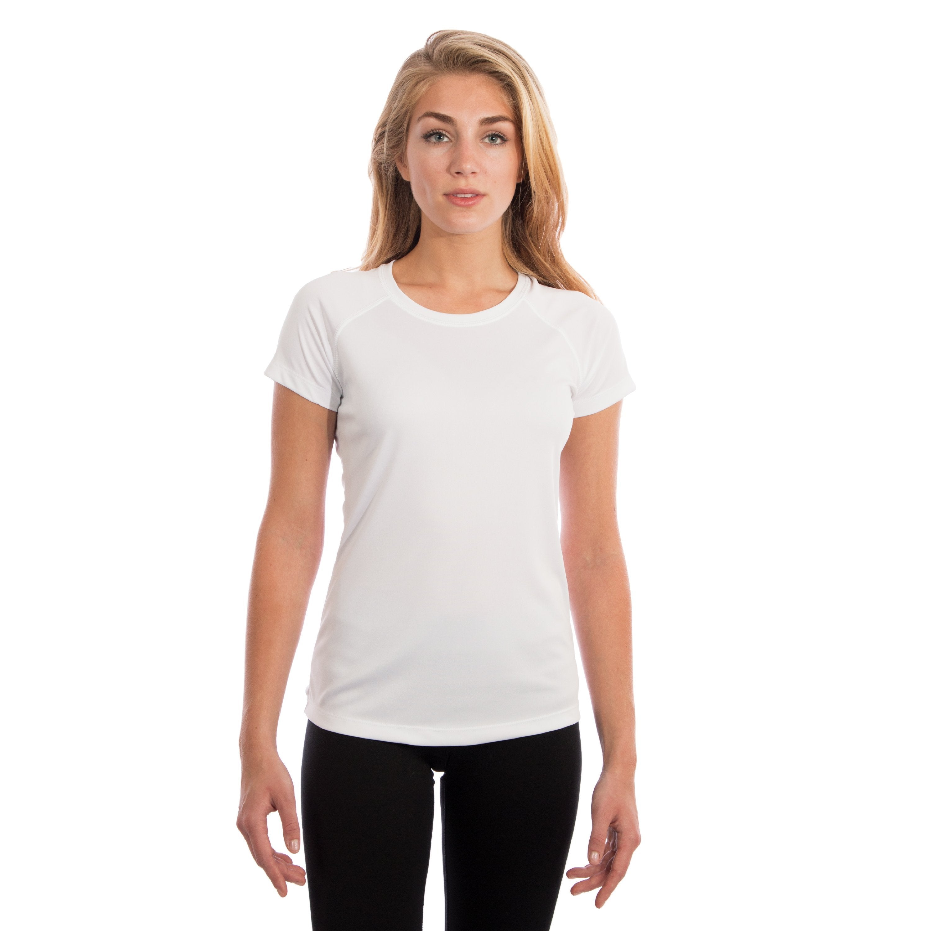 USA-M150WH USA Ladies Solar Short Sleeve - White