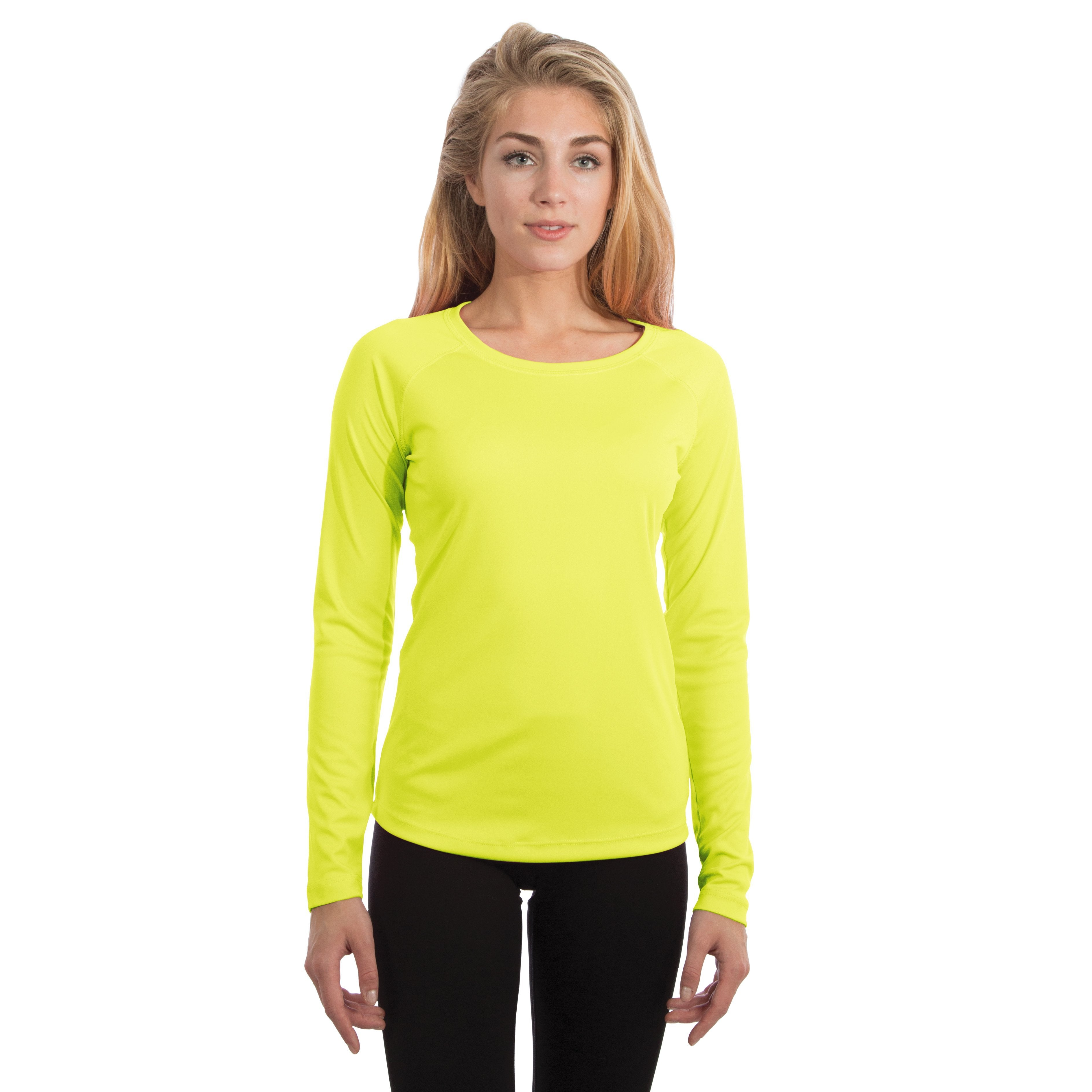 USA-M750SY USA Ladies Solar Slim Fit Long Sleeve - Safety Yellow