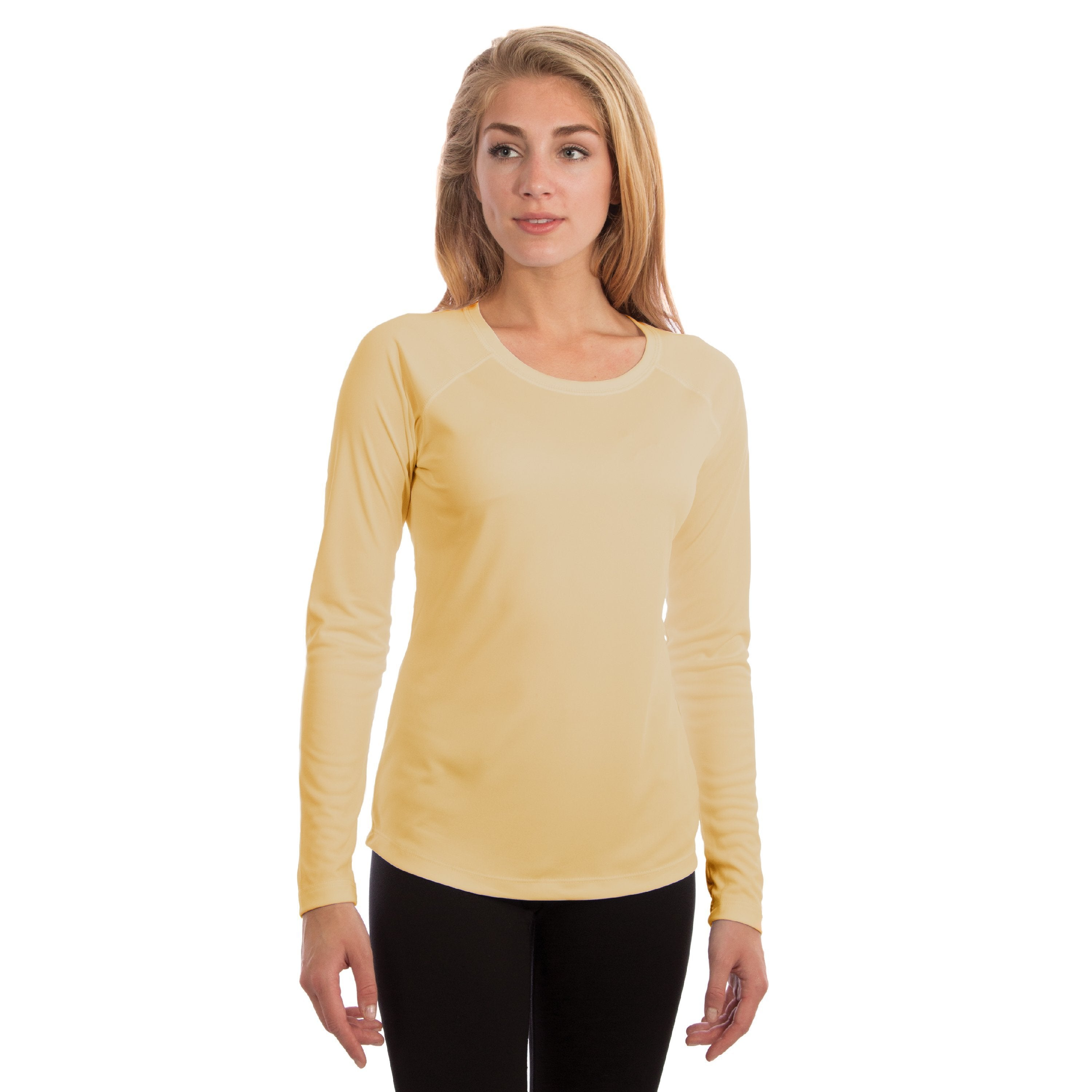 M750PY Ladies Solar Slim Fit Long Sleeve - Pale Yellow