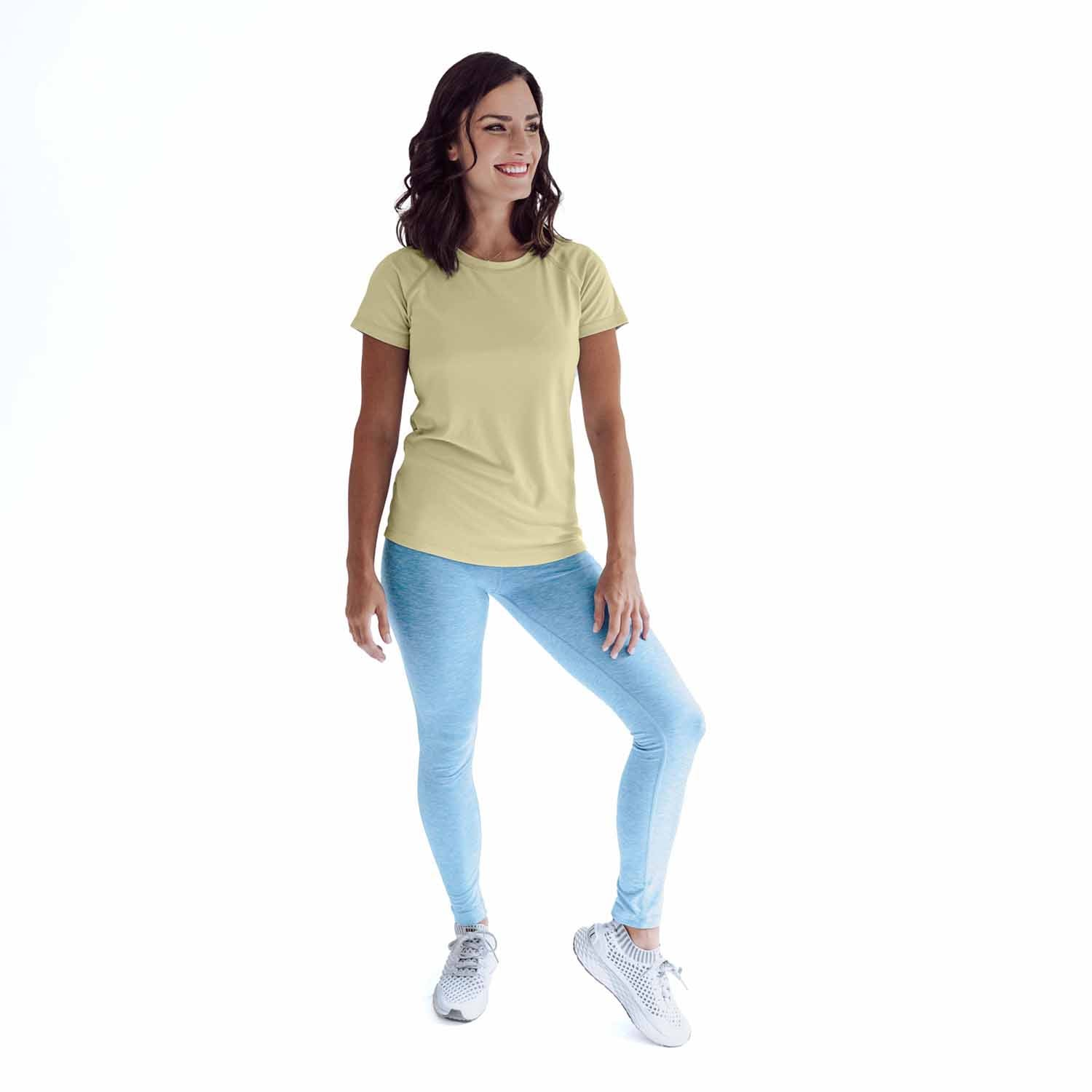 W350PY Ladies Classic Fit Solar Short Sleeve - Pale Yellow