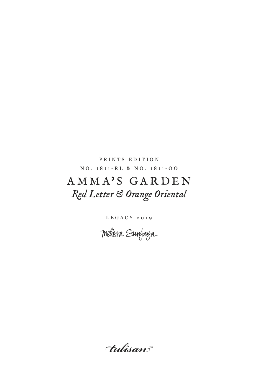 AMMA'S GARDEN - Red Letter & Orange Oriental