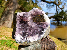 Load image into Gallery viewer, Amethyst Geode Cutbase With Brown Calcite