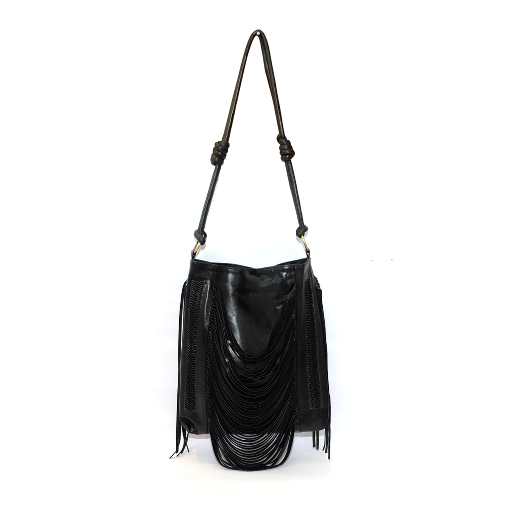 Daisy Fringe Leather Crossbody Bag - Iguana
